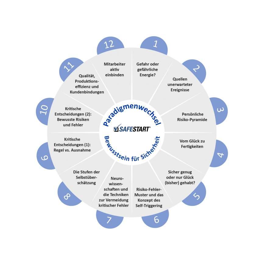 """Fachgebiete der Themenserie """"Paradigmenwechsel in der Arbeitssicherheit"""" von Larry Wilson im vollständigen Kreisdiagramm um bewusstseinsbasierte Arbeitssicherheit"""